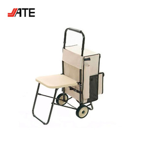 Multipurpose Carrying Cart With Built-in Seat, Trolley Travel Bag With Chair