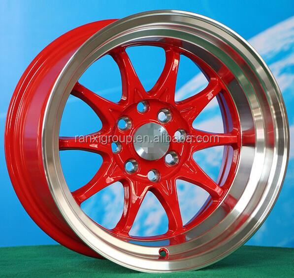 15X8.0/15X9.0J red center polish lip racing <strong>alloy</strong> wheel for cars