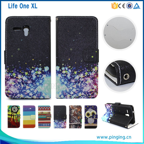 Colorful printed pu leather flip case cover for blu life one xl,mobile phone case for blu life one xl