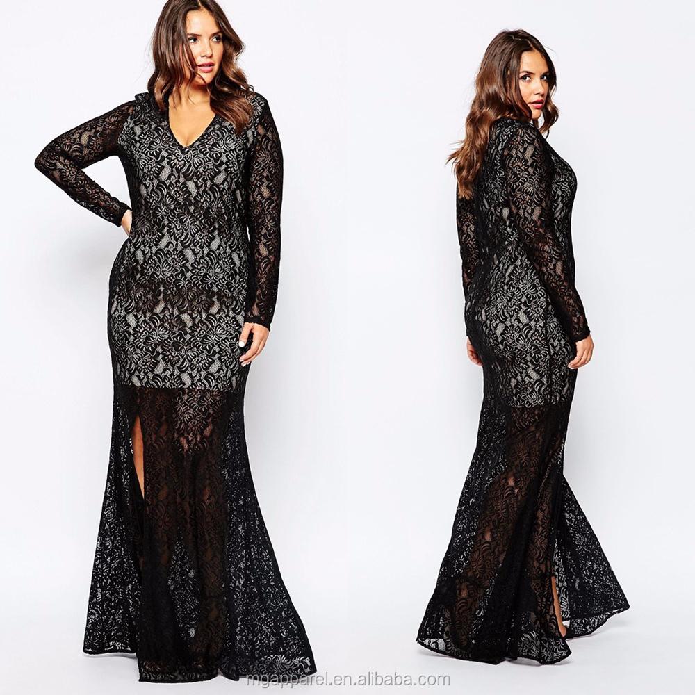 2e6d743fc42 Long Sleeve Maxi Dress Plus Size Black