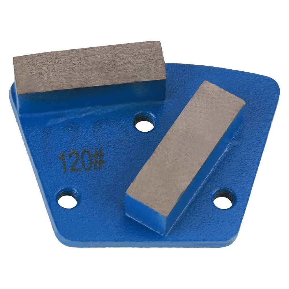 Grit 120 7x5.5cm Trapezoid Diamond Concrete Grinding Disc Pad for Grinder - 3 Holes 2 Straight Teeth