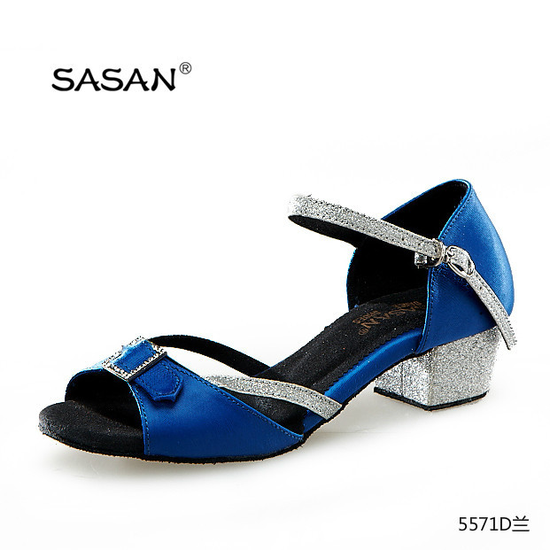 25279c03e35 Blue Satin Cuban Low Heel Girl Dance Shoes Square Diamond Buckle Kid Dance  Shoes