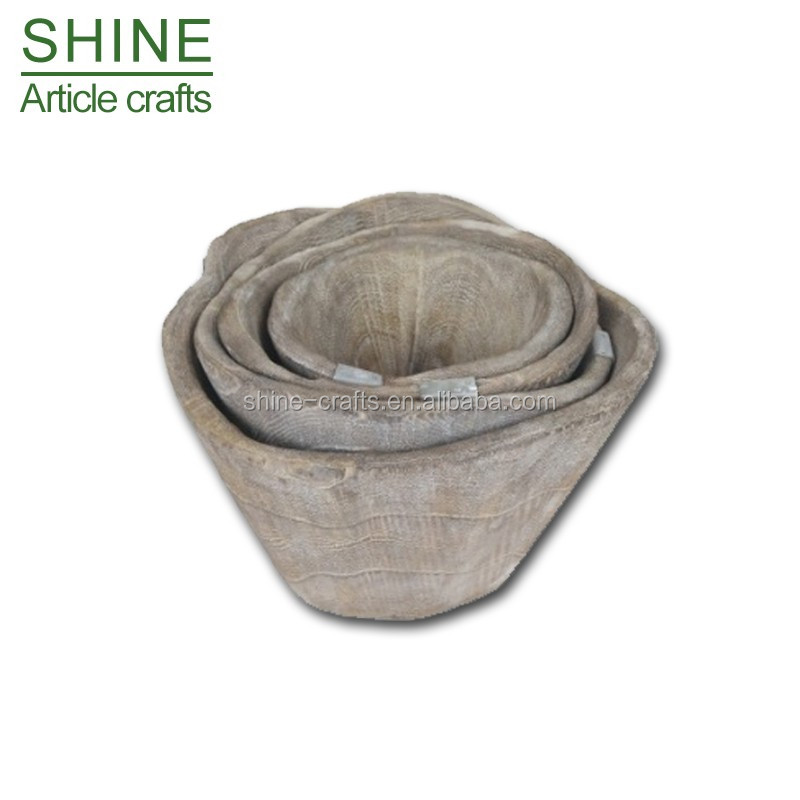 2017 new hot garden craft natual wooden flowerpot/box with grey or brown or natual color