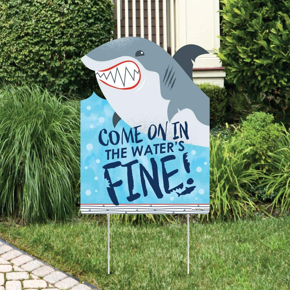 Big Dot of Happiness Shark Zone - Party Decorations - Jawsome Shark Party or Birthday Party Welcome Yard Sign