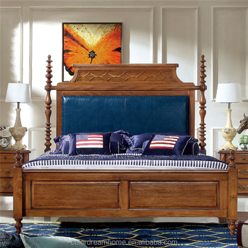 American Country Style Bedroom Furniture Beds Catalpa Wood Queen ...