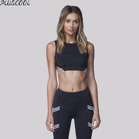 Athletic crop top fitness sport bra set for activewear women