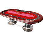 Red High-end 10 seat casino poker tables for sale