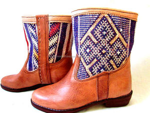 Beautiful Moroccan Handmade Genuine Leather Ladies Dress Kilim Boots