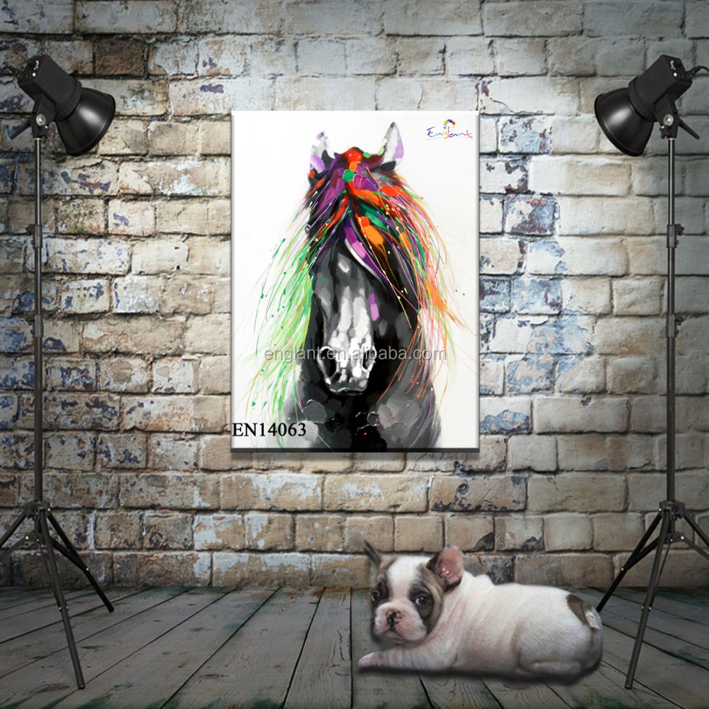 Decorative Handmade Modern Horse Animal Oil Painting on Canvas