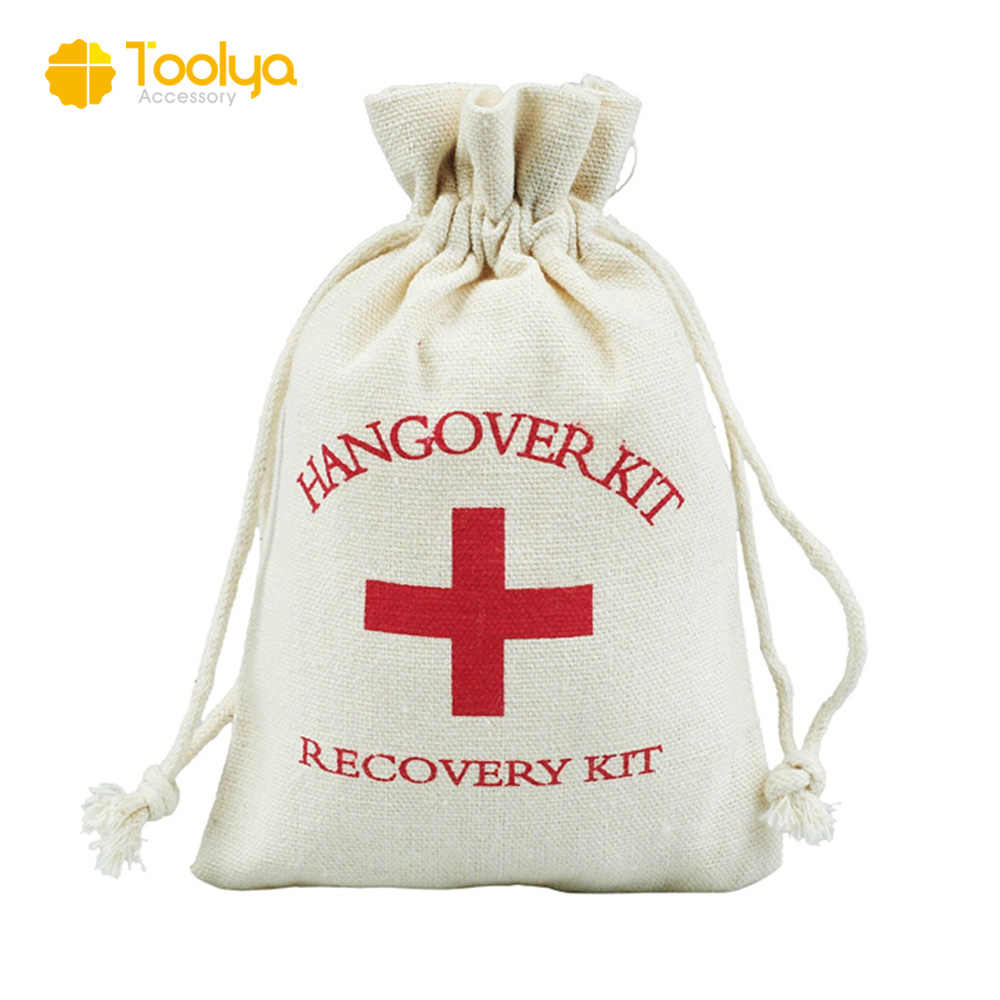 First Aid Ng Red Cross Hangover Kit Bag Wedding Party Drawstring Cotton Muslin