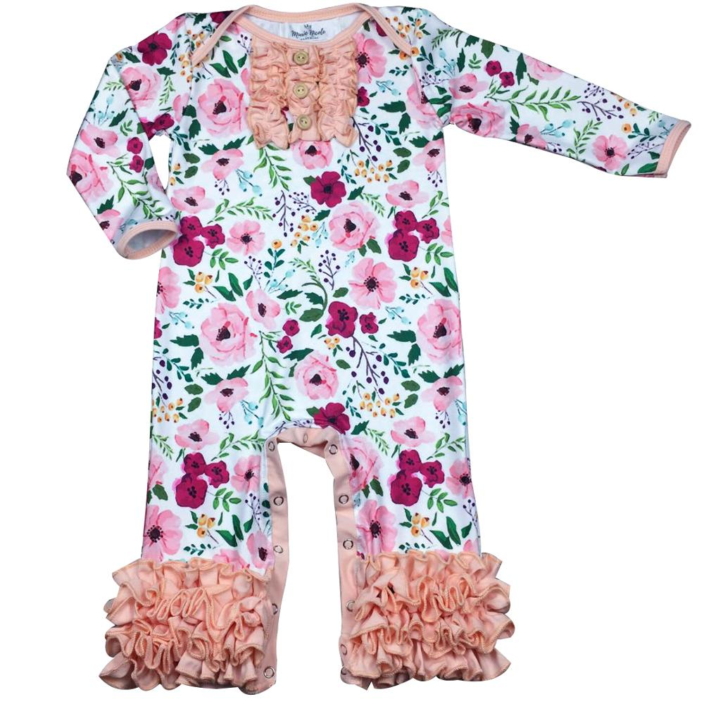 Floral wholesale children's boutique clothing bubble romper baby ruffle rompers