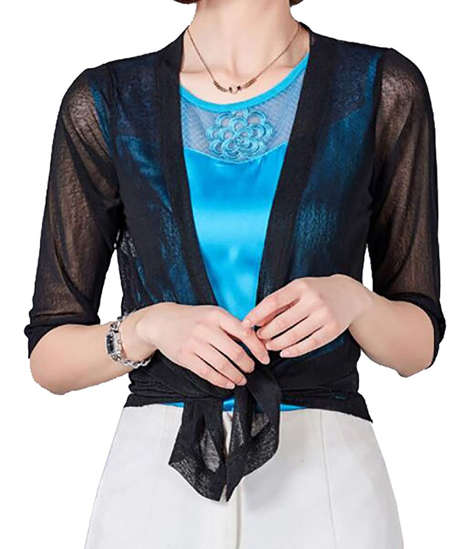 72c1094f484a Get Quotations · UUYUK-Women Sheer Summer Short Shrug Bolero Cardigan  Blouses Top Jacket Black US S