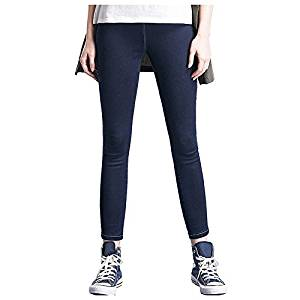 Women Jeans - SODIAL(R)Woman's Fashion Leggings Summer Autumn High Waist Elastic plus Size women Skinny jeans denim pants(Navy blue,XL/US-6)