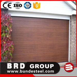wood look garage door with pu inside | insulated sectional garage door