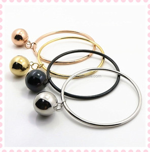 Stainless steel hanging light hollow ball funky bangle design for stock
