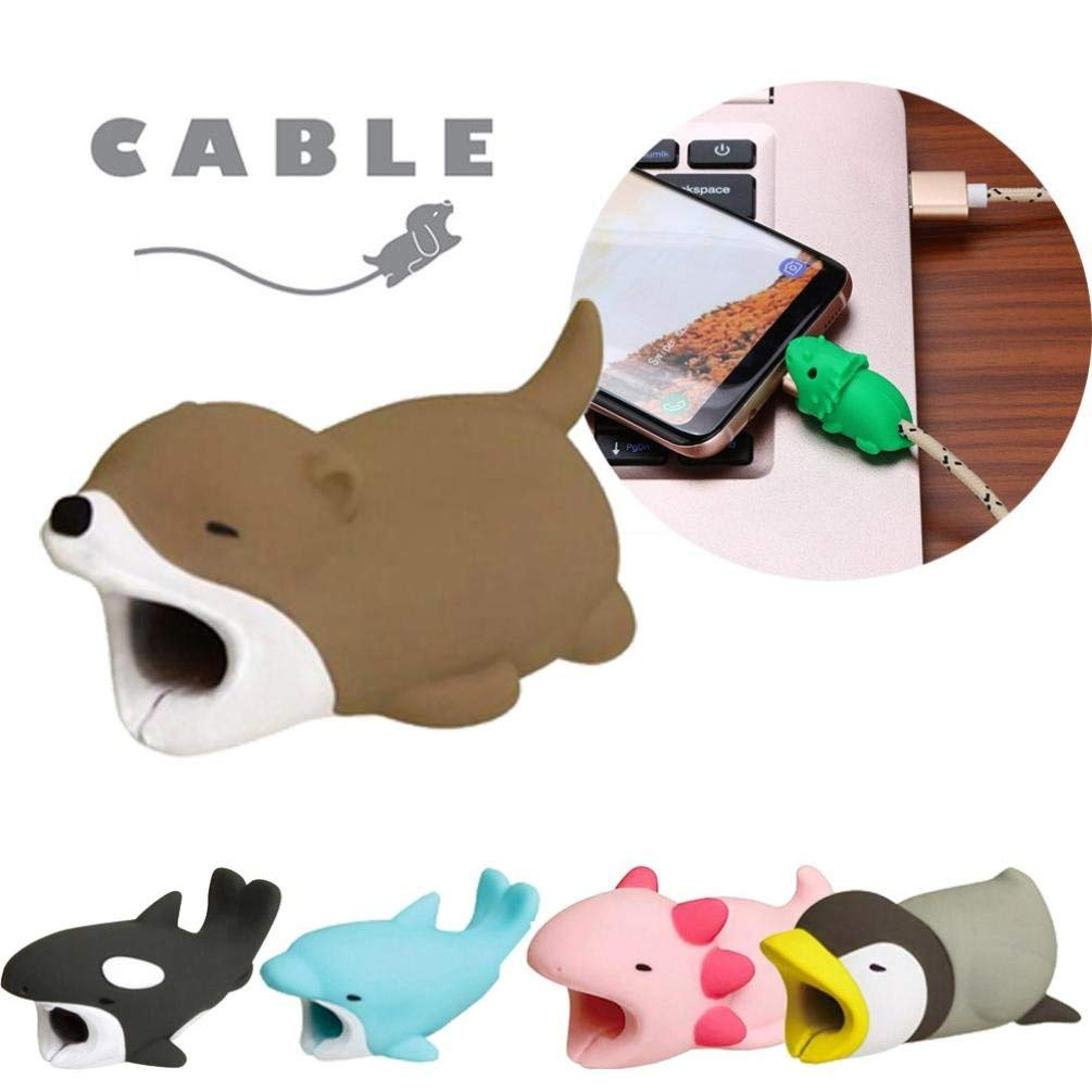 Makaor Cable Animal Bite Line Bite for Iphone Cable Cord Cute Phone Accessory Protects Cable Organizer Protector (D, 1.5 x 2 x 40 mm)