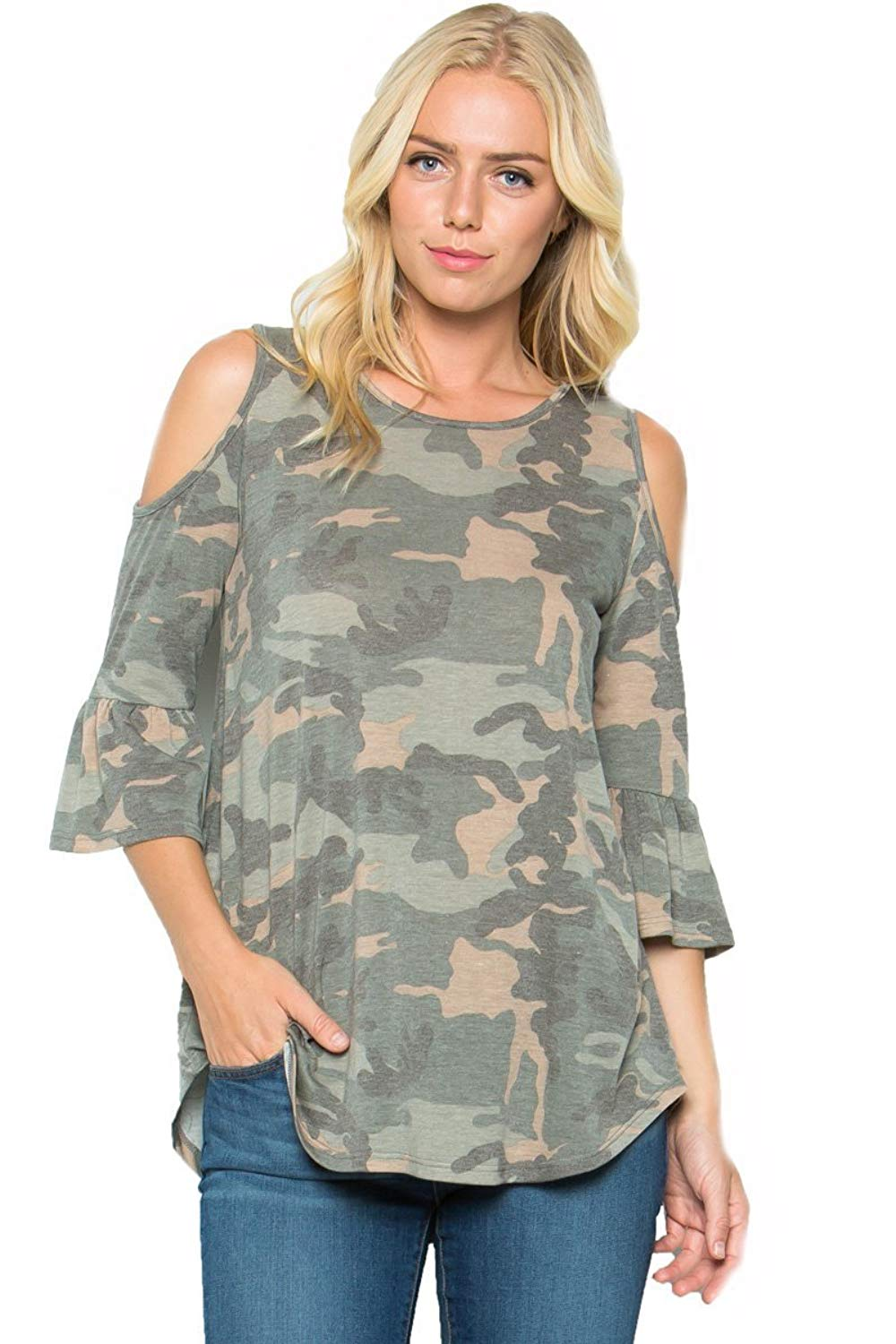 21a7a08caf832 Get Quotations · My Space Women s Camouflage Print Cold Shoulder Jersey Tunic  Top ...