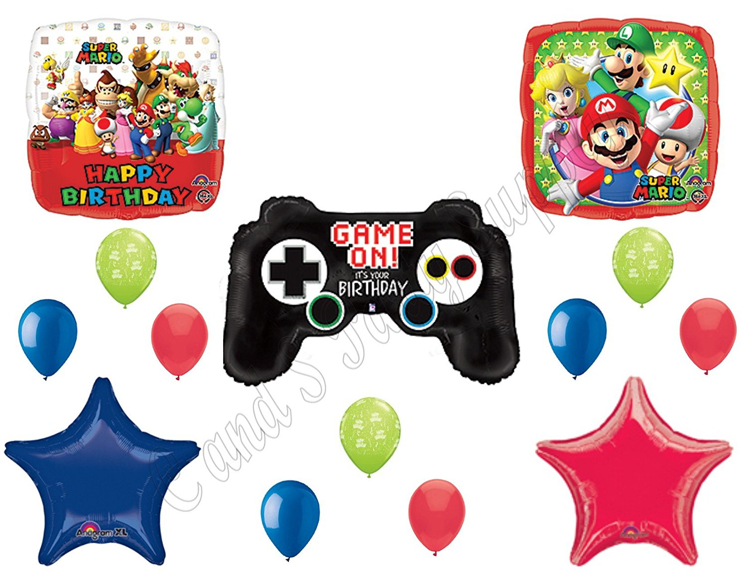 SUPER MARIO BROTHERS Video Game Birthday Balloons Decoration Supplies Party by Anagram