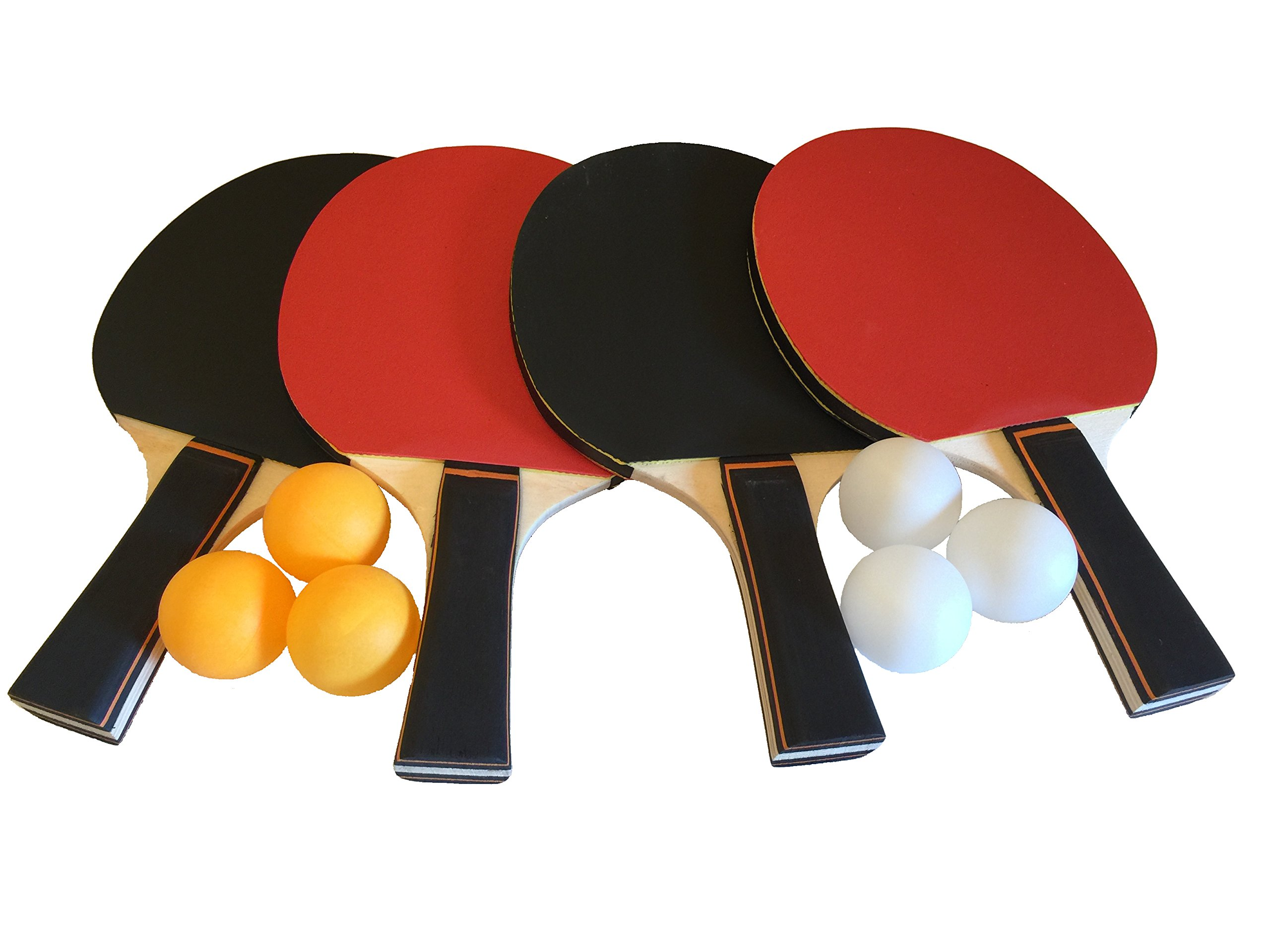 GameRoomGo Ping Pong Paddle Set, Table Tennis Set Including 4 Rackets and 6 Ping Pong Balls. Ping Pong Paddles Include Carrying Case For Storage Or Use As An Organizer. Best Value.