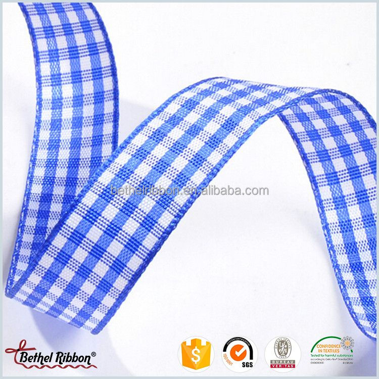 High quality promotional plaid decorative wide wired ribbon