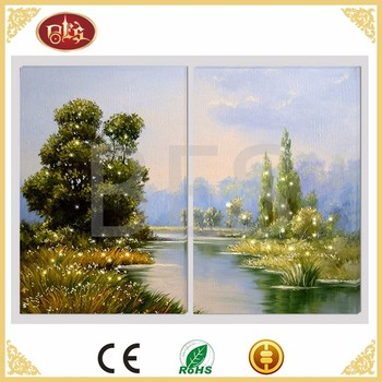 2 Panel Spring Landscape Painting On Canvas Modern