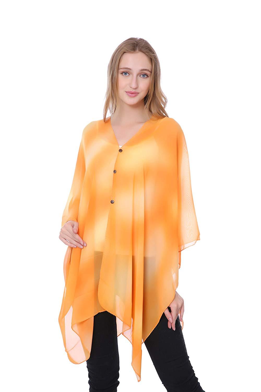 ac7c660c90c11 Get Quotations · MEMORIES Orange TIE DYE Kimono Beach Cover up Bikini Cover  up(QH-