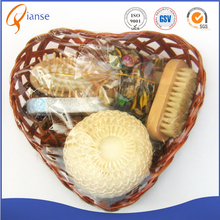 OEM customized wholesale high quality natural massage luxury portable wooden baby bath shower accessory spa bath gift set