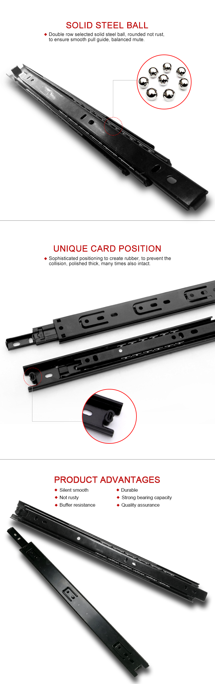Push up drawer glides hook mounting rail electrical drawer slides telescopic runner channel