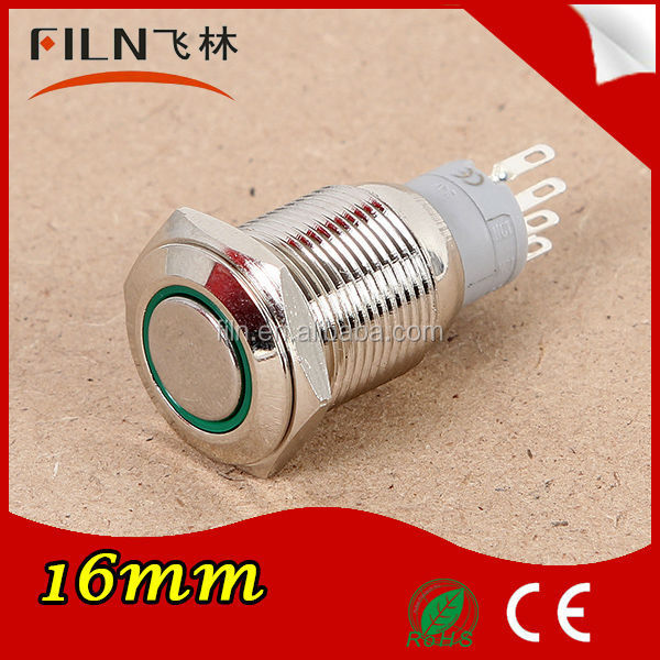 white color 16mm LED ring stainless steel latching push button switch lighted 5 pin IP67