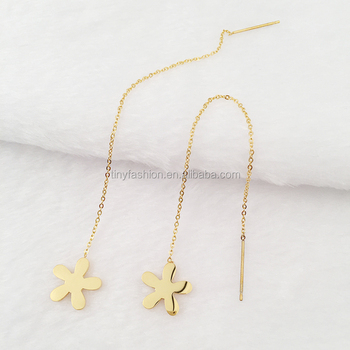New Simple Design Fashionable Women Jewelry Flower Earring Long Chain Earrings