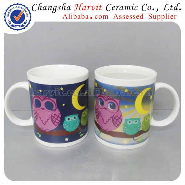 2014 New Design Sublimation Magic Mug/Heat Sensitive Color Changing Mugs/Hot Water Color Changing Mug
