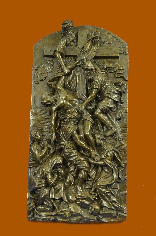 "...Handmade...European Bronze Sculpture Inspiring ""The Descent From The Cross"" Wall Mount Christ (XNBR-011-UK) Bronze Sculpture Statues Figurine Nude Office & Home Décor Collectibles Sale Deal Gifts"