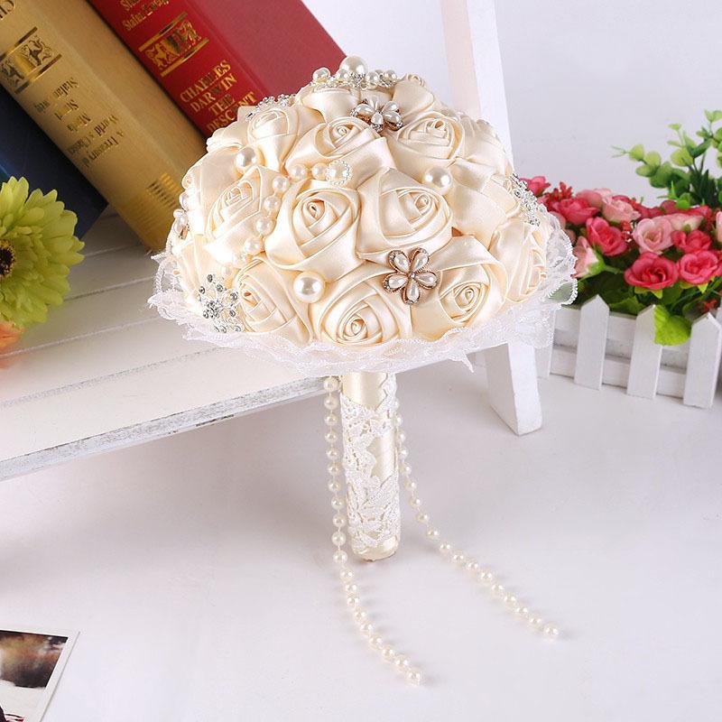 Diy Wedding Bouquets Ideas: DIY Flowers Pearls Silk Rose Bridal Wedding Flowers