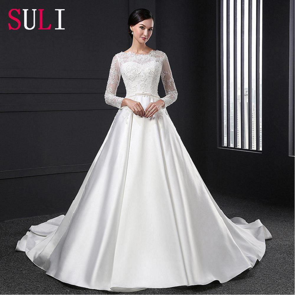 White Wedding Gowns With Sleeves: SL028 White Vestido De Noiva Lace Bridal Gown Beading Full