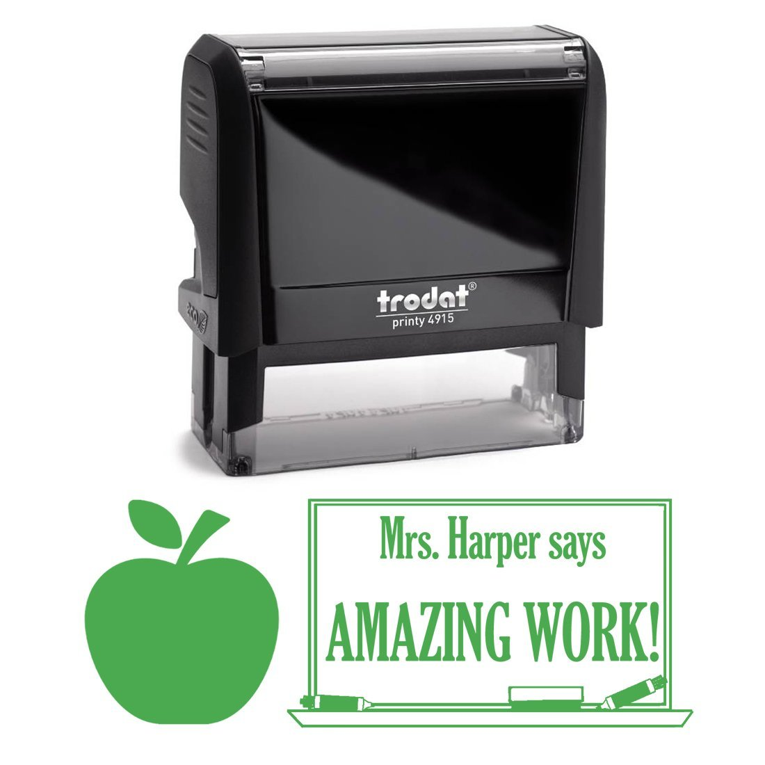 Green Ink, Apple Awesome Job Teacher Stamp, Self Inking, Homework Personalized School Work Stamp, Large 2 Lines, Customized Unique Gift, Personal Classroom Stamper