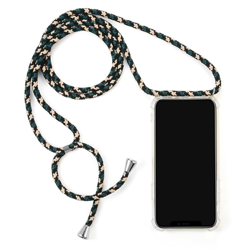 <strong>Hot</strong> Transparent hanging neck necklace four corners anti-fall mobile phone Case For IPhone X Xs XR Max