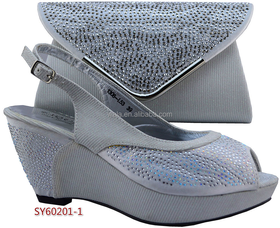 heel SY60201 party for to shoes shoes 5 blue bag and royal Wedge match Italian African ladies qvxR66
