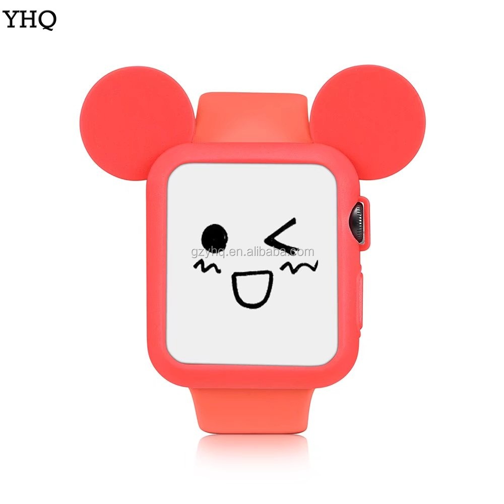 2017 Cute Cartoon Mouse Ears Soft Silicone Case Watch Band for Apple Watch series 1/2 Colorful cover shell