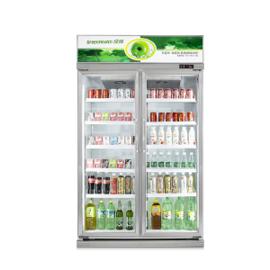 800L Fan Cooling Double Glass Door Fridge for Soft Drinks