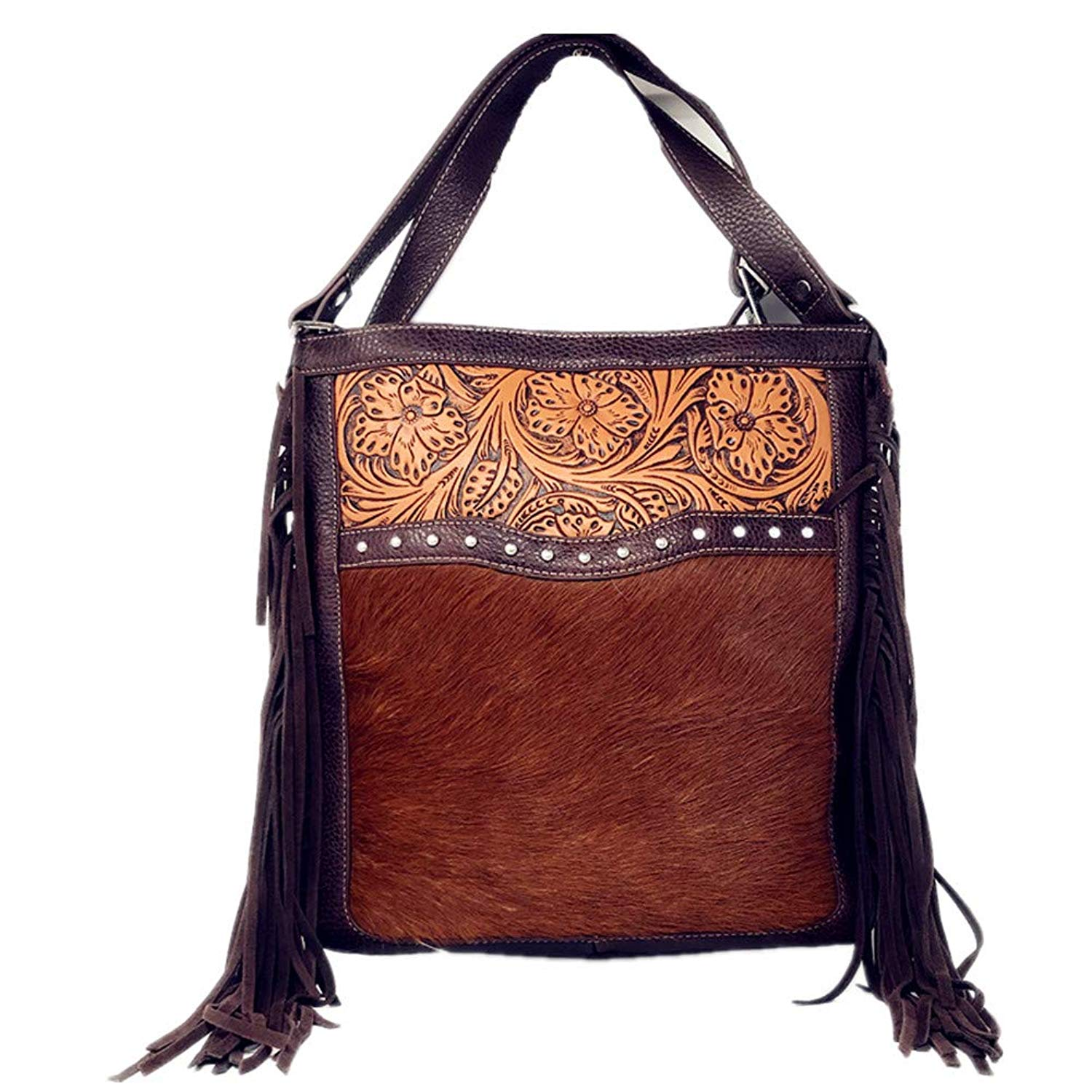 d7ceb8a6e91 Get Quotations · Texas West Concealed Carry Cow Fur Zip Top Shoulder Bag  Tote Floral Tooled Genuine Leather Handbag