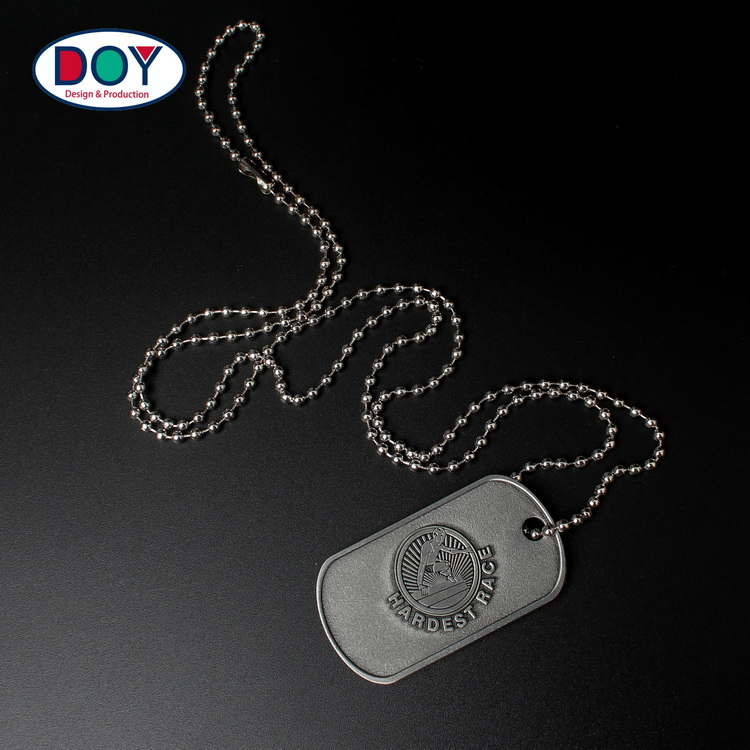 NEONBLOND Personalized Name Engraved Yoga Printed Jewelry on Black Dogtag Necklace