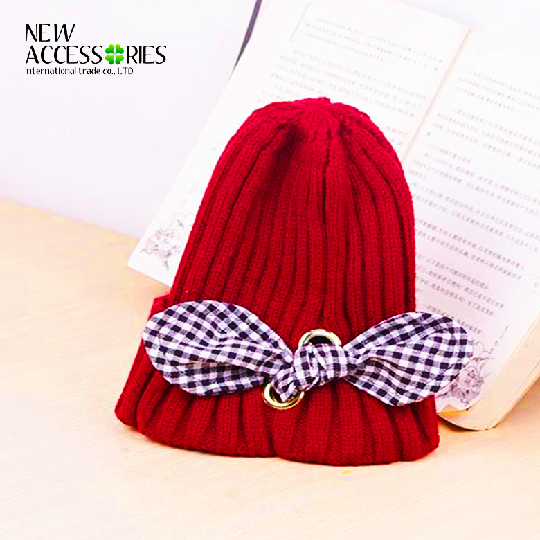 Trendy women 2 layers thick rib knitted beanie hats with cotton bow