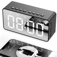 1600mAh Rechargering Portable Multi-function Wireless BT speaker&Alarm Clock with Dual Horn 4D Heavy Bass for home music