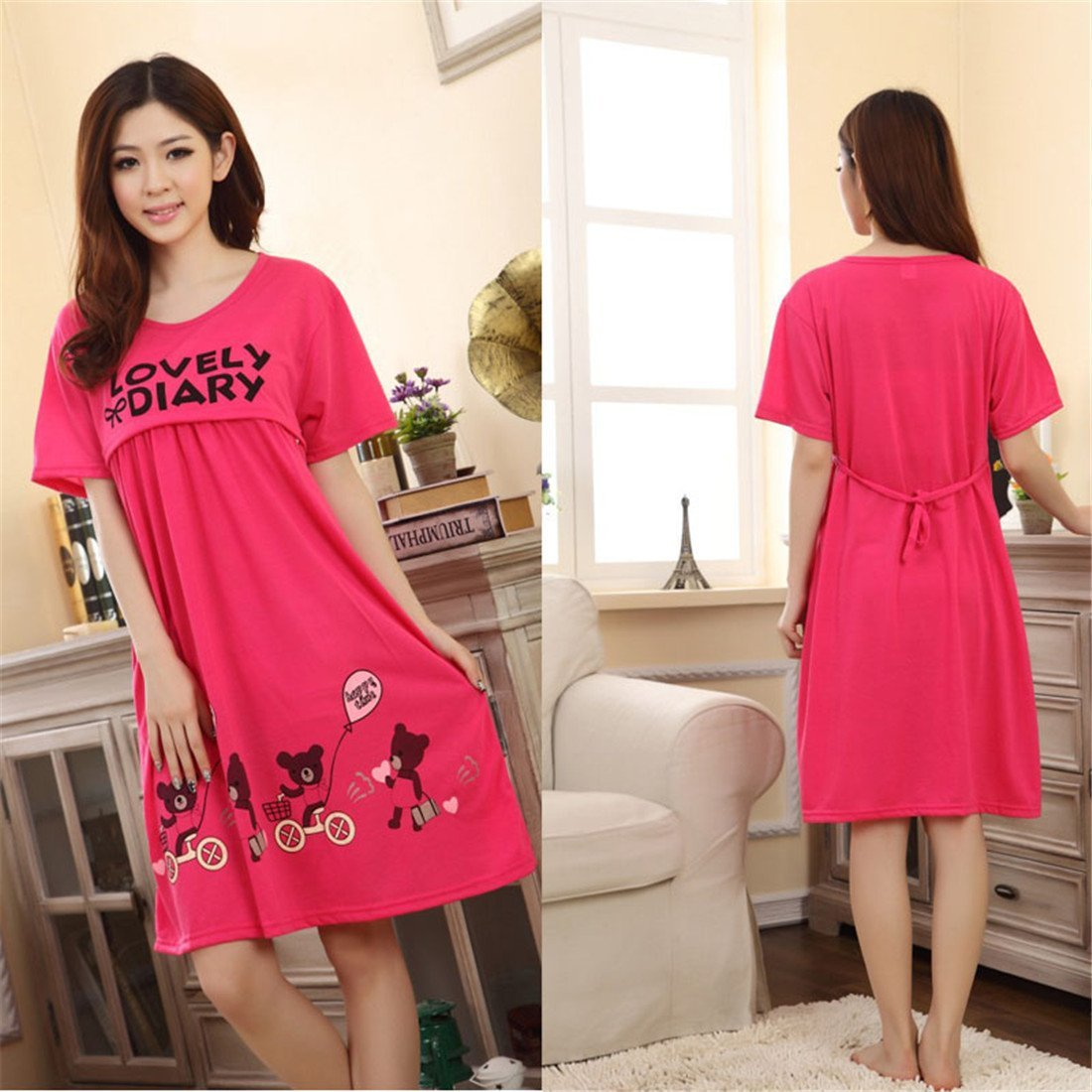 7488e232223 Get Quotations · Nursing Dress For Breastfeeding Maternity Dress Pregnancy  Women Sleepwear Dresses Loose Soft Dress Hemlock (Free