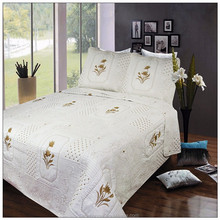 Quilted plain bedspread queen satin bedspreads