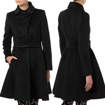 Elegant Ladies Long Black Cashmere Coat For Winter - Buy Cashmere ...