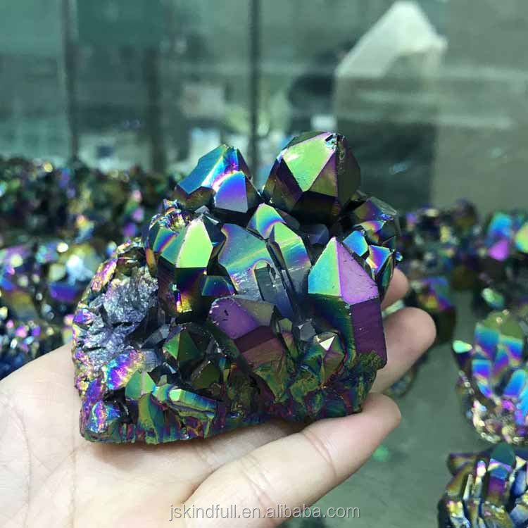 Spiritual handmade electroplating titanium angel aura quartz crystal cluster ornament wholesale