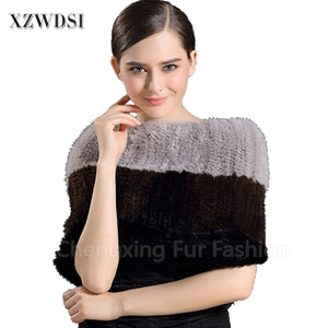 CX-S-171A Factory Wholesale Mink Fur Cape Knitted Pashmina Shawl