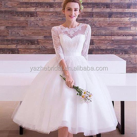 2018 Long Sleeve Short Bridal Gowns Wonderful Tulle Jewel Neckline Tea-length A-line Wedding Dresses With Lace Appliques