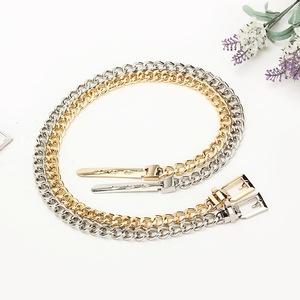 2019 New Design Chain Belt Women Gold Silver Waist Thin Metal Belt